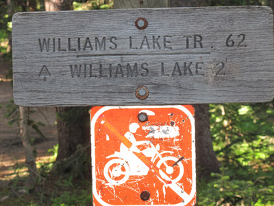 Williams Lake Trail Sign